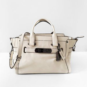 COACH Swagger Ivory Smooth Leather Handbag